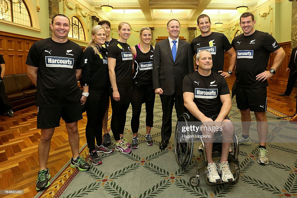 Prime Minister <a gi-track='captionPersonalityLinkClicked' href=/galleries/search?phrase=John+Key&family=editorial&specificpeople=2246670 ng-click='$event.stopPropagation()'>John Key</a> poses with members of the New Zealand team before the start of the ANZA Challenge on October 15, 2013 in Wellington, New Zealand.