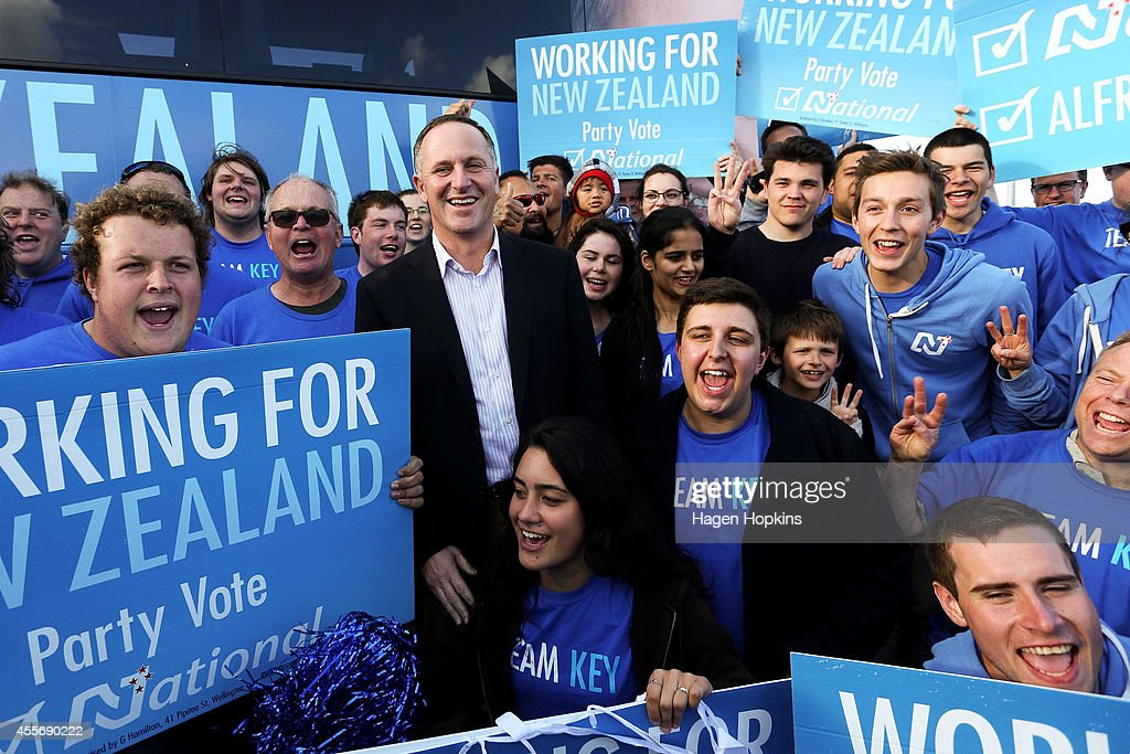 Prime Minister <a gi-track='captionPersonalityLinkClicked' href=/galleries/search?phrase=John+Key&family=editorial&specificpeople=2246670 ng-click='$event.stopPropagation()'>John Key</a> poses with supporters during the National Party Bus Trip at Pak N Save Lincoln North on September 19, 2014 in Auckland, New Zealand. The New Zealand general election will be held Saturday, September 20.