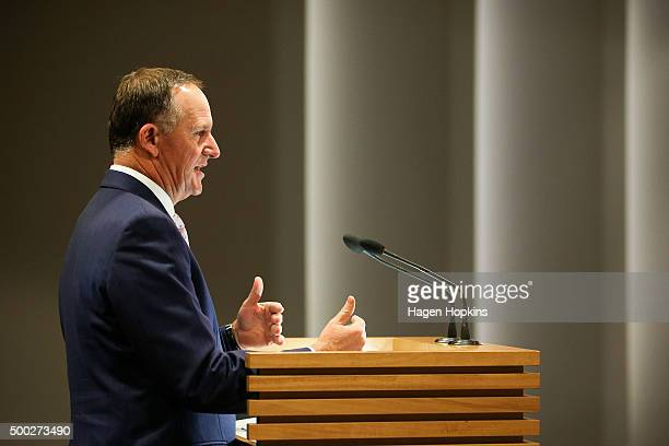 Prime Minister John Key speaks during a press conference at The Beehive on December 7 2015 in Wellington New Zealand Maureen Pugh replaces Tim Groser...