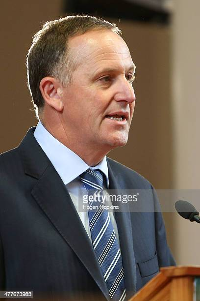 Prime Minister John Key speaks during a visit to Victoria University on March 11 2014 in Wellington New Zealand Key announced that a referendum will...