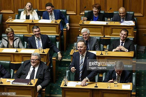 Prime Minister John Key speaks during the 2015 budget presentation at Parliament House on May 21 2015 in Wellington New Zealand English announced the...