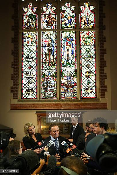 Prime Minister John Key speaks to media during a visit to Victoria University on March 11 2014 in Wellington New Zealand Key announced that a...
