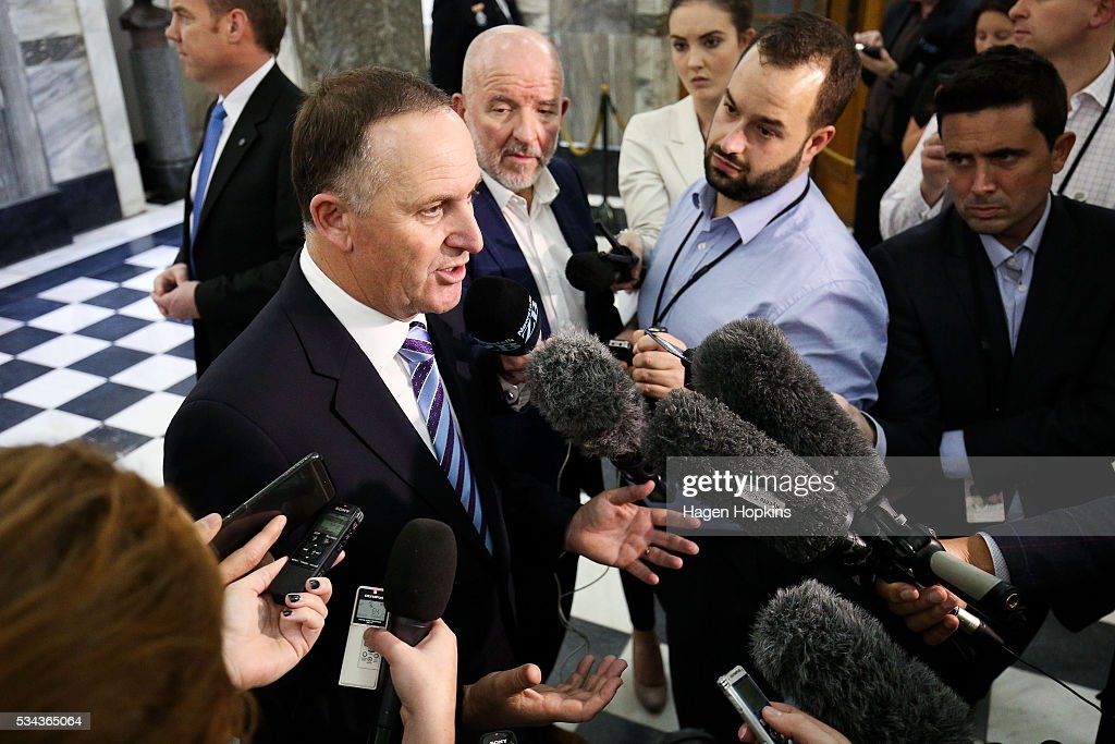 Prime Minister <a gi-track='captionPersonalityLinkClicked' href=/galleries/search?phrase=John+Key&family=editorial&specificpeople=2246670 ng-click='$event.stopPropagation()'>John Key</a> speaks to media during the 2016 budget presentation at Parliament on May 26, 2016 in Wellington, New Zealand. Finance Minister Bill English his eighth budget sees record investment in health and education and more support for businesses to create jobs on the back of a growing economy.