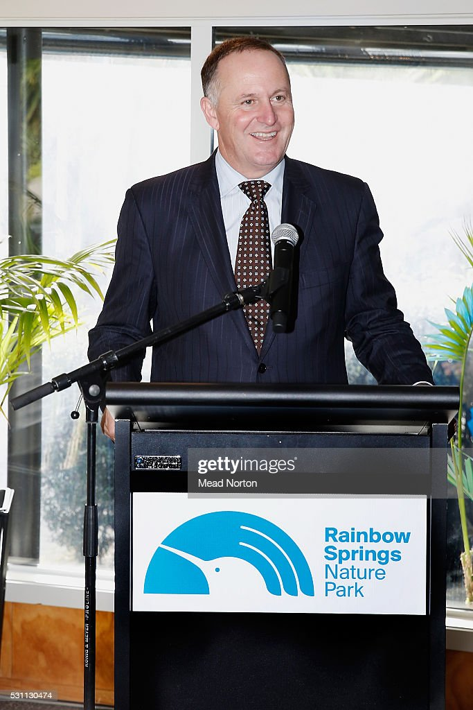 Prime Minister <a gi-track='captionPersonalityLinkClicked' href=/galleries/search?phrase=John+Key&family=editorial&specificpeople=2246670 ng-click='$event.stopPropagation()'>John Key</a> speaks to the visitors during his visit to Ngai Tahu Tourism's Rainbow Springs on May 13, 2016 in Rotorua, New Zealand. The Prime Minister met 'Mighty Dash', the 1500th kiwi chick to hatch at Rainbow Springs before its release back into the wild.