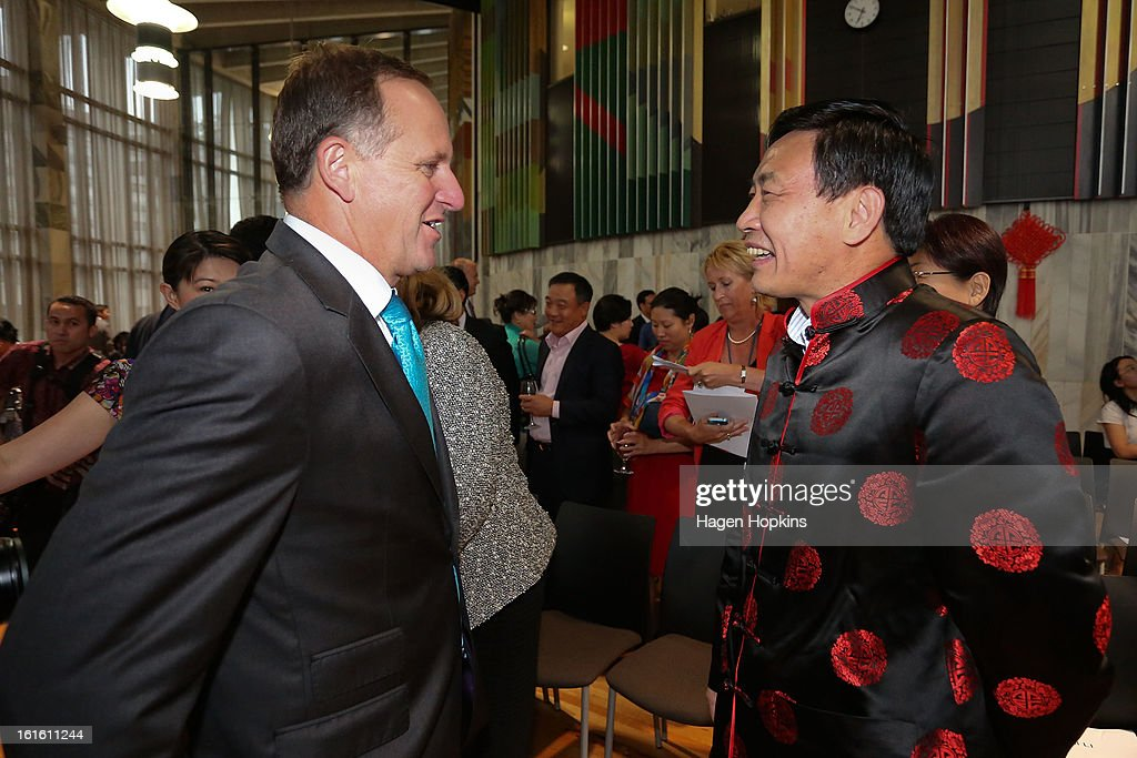 Prime Minister <a gi-track='captionPersonalityLinkClicked' href=/galleries/search?phrase=John+Key&family=editorial&specificpeople=2246670 ng-click='$event.stopPropagation()'>John Key</a> talks to Ambassador of the People's Republic of China, HE Mr Xu Jianguo, during a Chinese New Year Celebration at The Beehive on February 13, 2013 in Wellington, New Zealand. Chinese New year celebrations begin on the first day of the first lunar month in the traditional Chinese calendar and end 15 days later on the full moon.