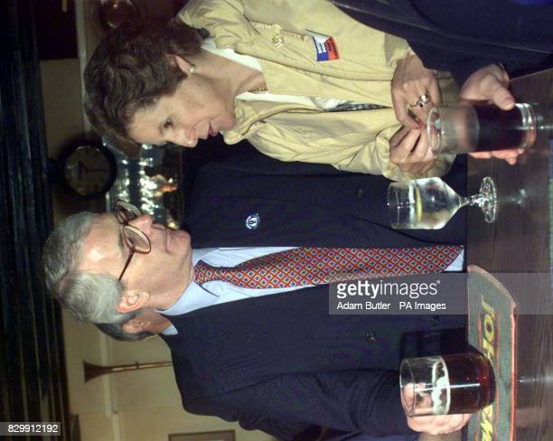 Prime Minister John Major enjoys a pint and a chat with his wife Norma in his home constituency local pub the Market Inn of Huntington today Photo by...