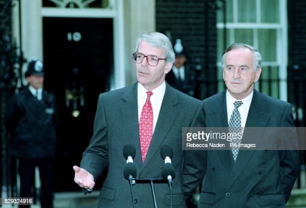 Prime Minister John Major outside No 10 Downing Street with Irish Prime Minister Albert Reynolds