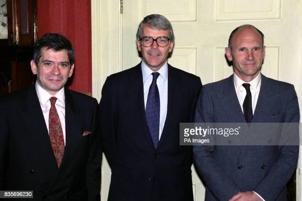 Prime Minister John Major with President Enrique Baron Crespo right head of the European Parliament and Christopher Prout Conservative MEP at 10...