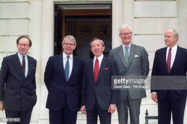 Prime Minister John Major with US Secretary of State Warren Christopher before talks at Chevening Kent about the Bosnian Situation With them are...
