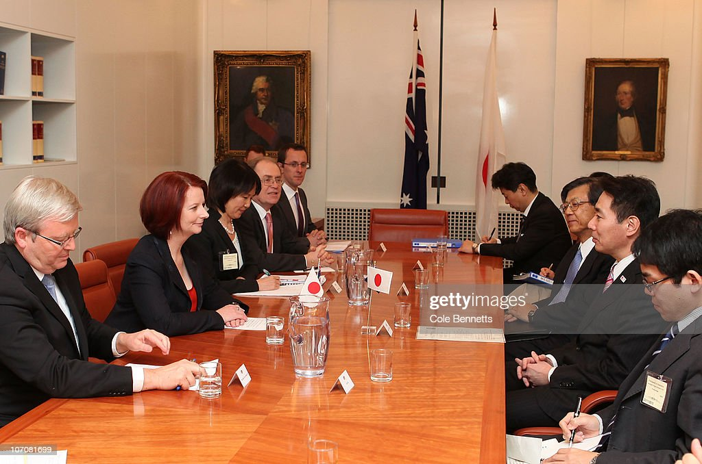 Prime Minister Julia Gillard and Foreign Minister Kevin Rudd meet with Japanese Foreign Minister Seiji Maehara (R) at Parliament House on November 23, 2010 in Canberra, Australia. Japan's Foreign Minister Seiji Maehara traveled to Canberra to participate in free trade agreement talks with Prime Minister Julia Gillard, Foreign Minister Kevin Rudd and Trade Minister Craig Emerson.