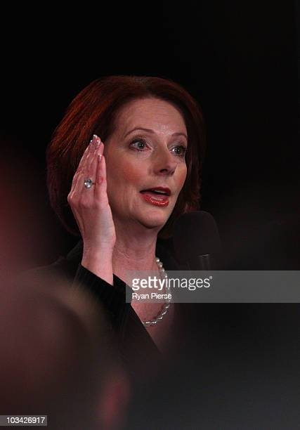 Prime Minister Julia Gillard answers a question posed by a voter at a community forum at the Broncos League Club on August 18 2010 in Brisbane...