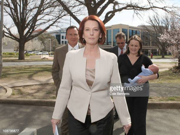 Prime Minister Julia Gillard arrives at the National Press Club on August 31 2010 in Canberra Australia Gillard called the press conference to...