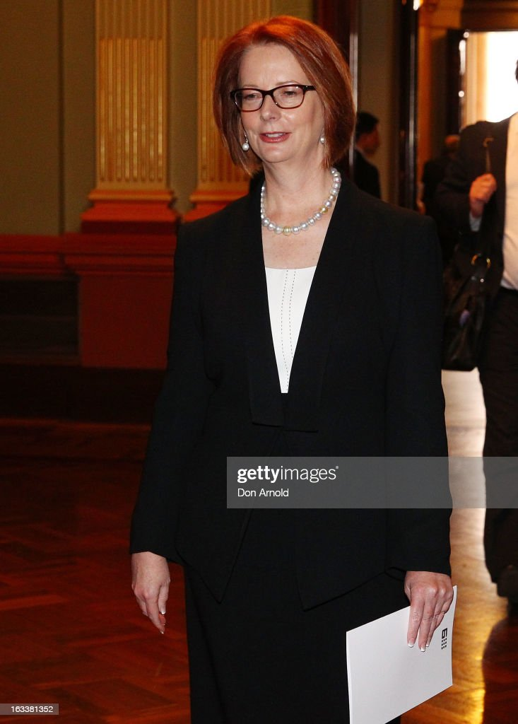 Prime Minister <a gi-track='captionPersonalityLinkClicked' href=/galleries/search?phrase=Julia+Gillard&family=editorial&specificpeople=787281 ng-click='$event.stopPropagation()'>Julia Gillard</a> arrives for the public memorial for Peter Harvey at Sydney Town Hall on March 9, 2013 in Sydney, Australia. Television journalist Peter Harvey, died in Sydney on March 2 aged 68 after a battle with pancreatic cancer.