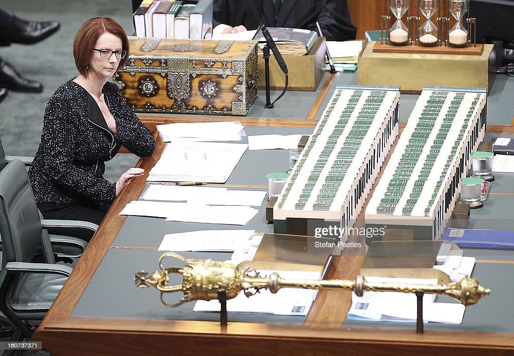 Prime Minister Julia Gillard during House of Representatives question time at Parliament House on February 5, 2013 in Canberra, Australia. Parliament resumes for the first sitting of 2013 today, just days after Prime Minister Gillard, announced a federal election date of September 14, 2013.