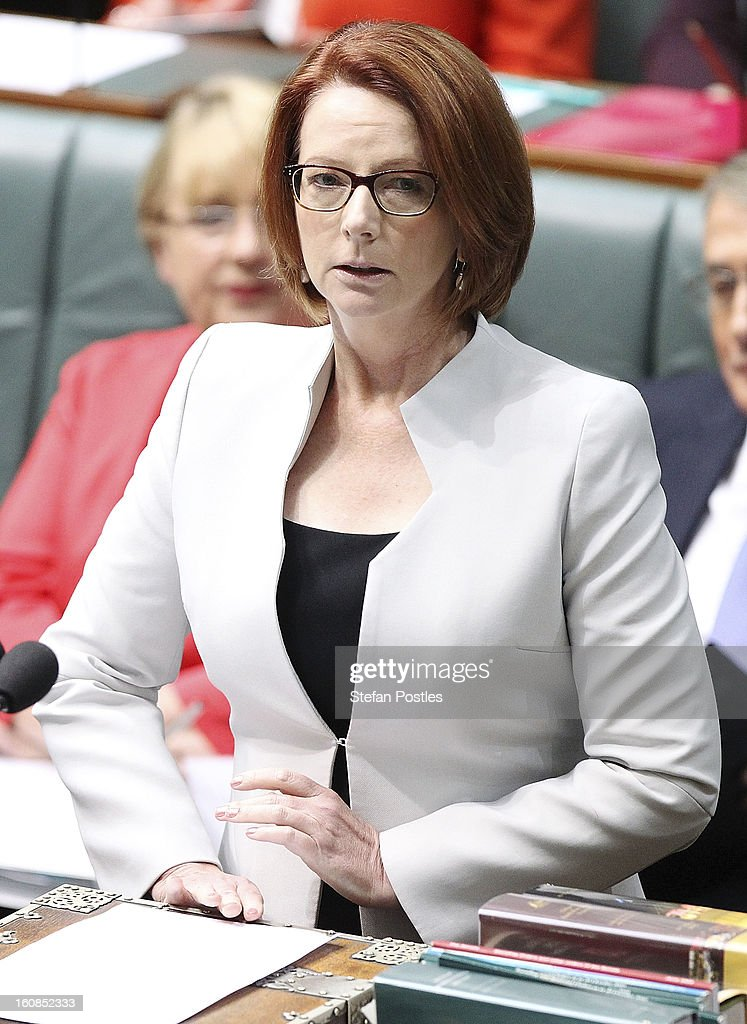 Prime Minister <a gi-track='captionPersonalityLinkClicked' href=/galleries/search?phrase=Julia+Gillard&family=editorial&specificpeople=787281 ng-click='$event.stopPropagation()'>Julia Gillard</a> during House of Representatives question time at Parliament House on February 7, 2013 in Canberra, Australia. Parliament resumes for the first sitting of 2013 this week, just days after Prime Minister Gillard, announced a federal election date of September 14, 2013.