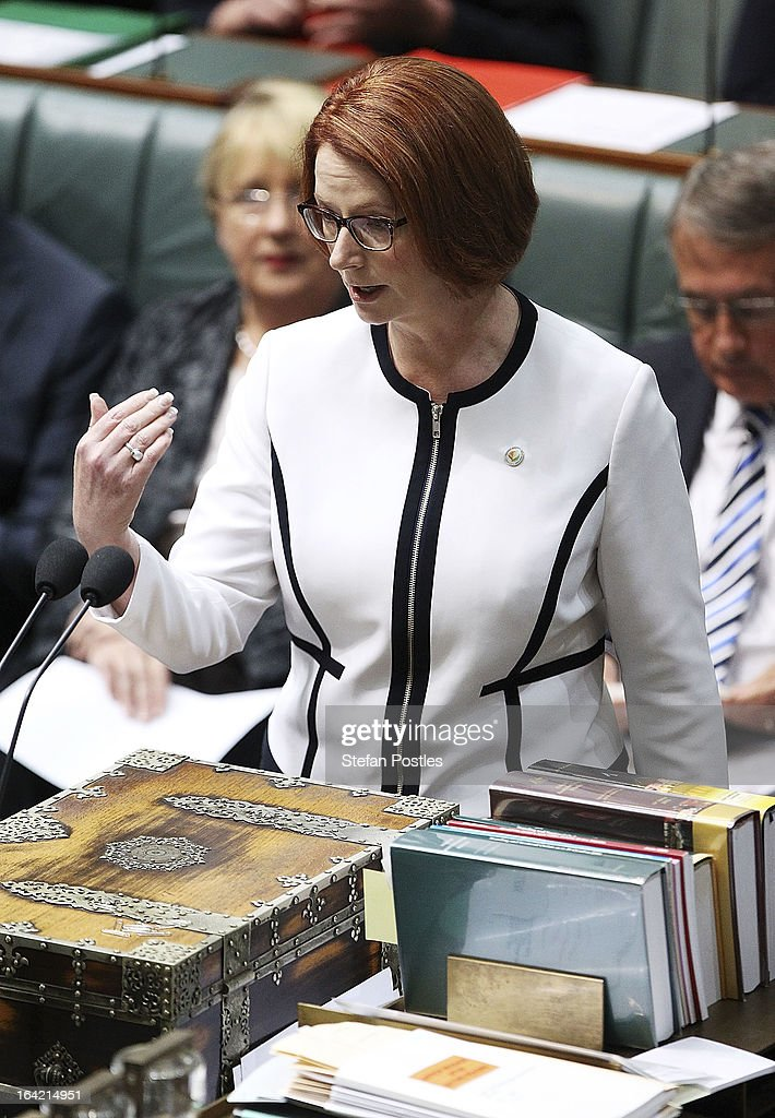 Prime Minister <a gi-track='captionPersonalityLinkClicked' href=/galleries/search?phrase=Julia+Gillard&family=editorial&specificpeople=787281 ng-click='$event.stopPropagation()'>Julia Gillard</a> during House of Representatives question time on March 21, 2013 in Canberra, Australia. Australian Prime Minister <a gi-track='captionPersonalityLinkClicked' href=/galleries/search?phrase=Julia+Gillard&family=editorial&specificpeople=787281 ng-click='$event.stopPropagation()'>Julia Gillard</a> has called for a ballot today to decide the leader, and deputy leader of the Australian Labor Party, effectively a caucus vote that will decide the Prime Minister and Deputy Prime Minister of the country. Kevin Rudd is expected to nominate for the leadership and Simon Crean for the deputy position. Rudd, who was elected Prime Minister in the 2007 election was ousted by Gillard in June 2010, who then went on to win the 2010 Federal Election in August.