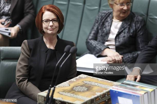 Prime Minister Julia Gillard during question time at Parliament House on June 26 2013 in Canberra Australia It has been reported Rudd supporters are...