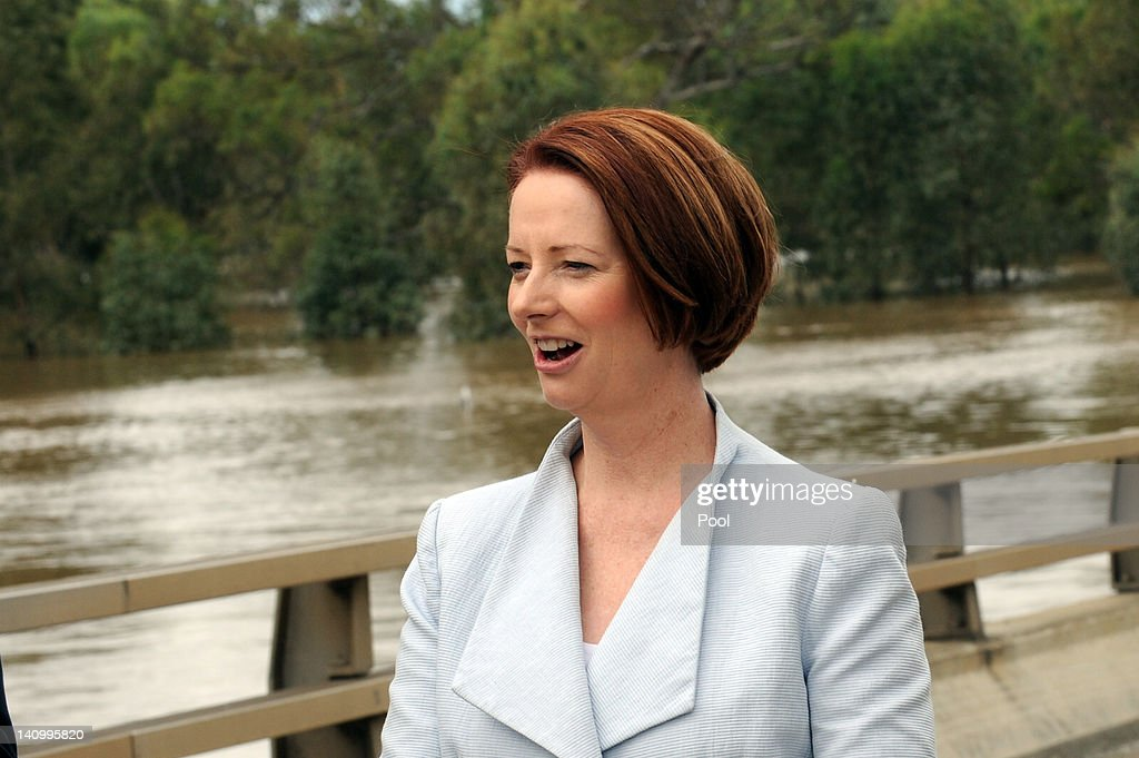 Prime Minister <a gi-track='captionPersonalityLinkClicked' href=/galleries/search?phrase=Julia+Gillard&family=editorial&specificpeople=787281 ng-click='$event.stopPropagation()'>Julia Gillard</a> holds a press conference on Wiradjuri Bridge on March 7, 2012 in Wagga Wagga, Australia. 9000 evacuated residents are waiting for authorities to survey the city's levee to determine if it is safe to return home, after flood waters peaked at 10.6 metres - less than the 10.9 metre peak predicted. Residents on Monday were instructed to evacuate and the town was declared a disaster zone with authorities predicting floodwaters to reach a level that would likely break the levee, flood the cities central district, and cause the worst flooding in decades.