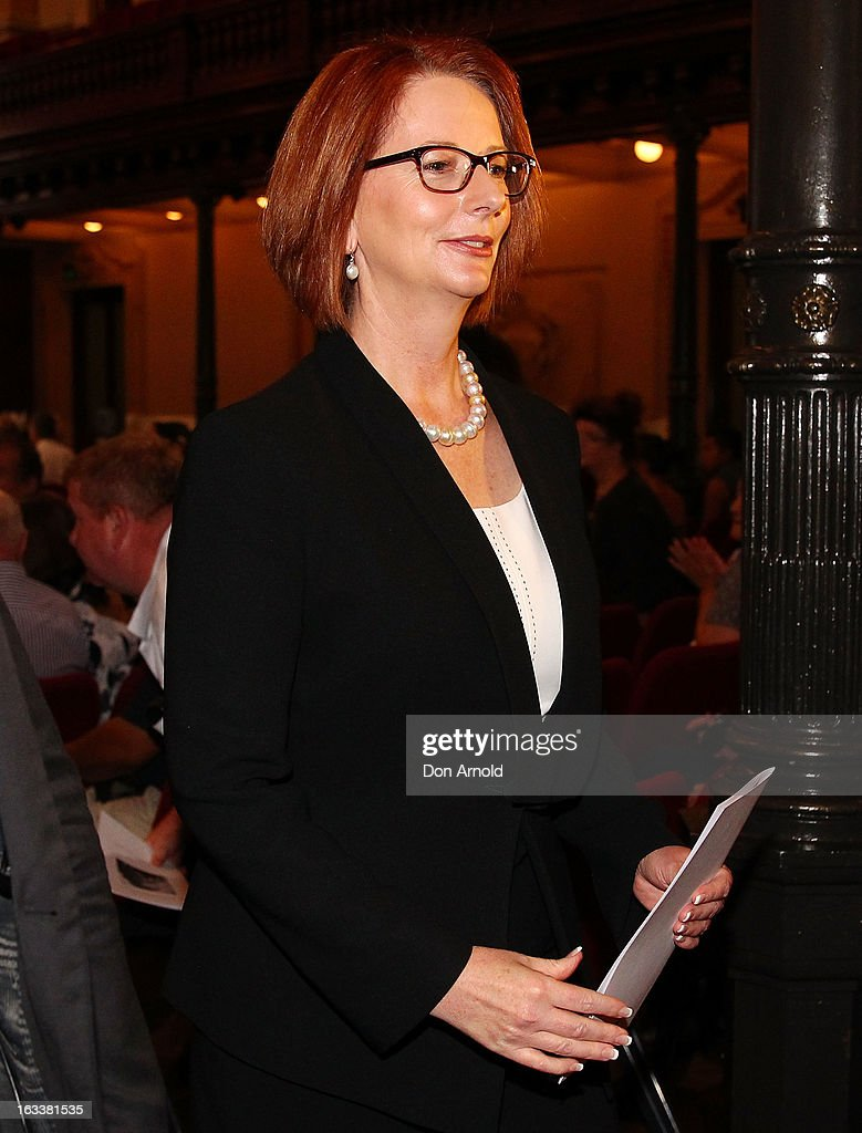 Prime Minister <a gi-track='captionPersonalityLinkClicked' href=/galleries/search?phrase=Julia+Gillard&family=editorial&specificpeople=787281 ng-click='$event.stopPropagation()'>Julia Gillard</a> is seen leaving the public memorial for Peter Harvey at Sydney Town Hall on March 9, 2013 in Sydney, Australia. Television journalist Peter Harvey, died in Sydney on March 2 aged 68 after a battle with pancreatic cancer.