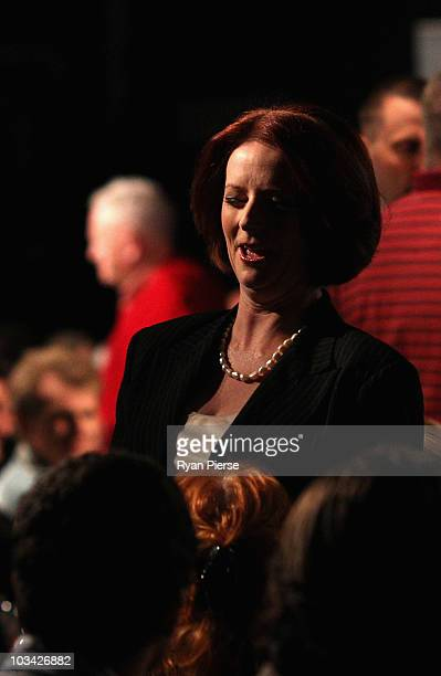 Prime Minister Julia Gillard meets voters at a community forum at the Broncos League Club on August 18 2010 in Brisbane Australia Both parties are in...