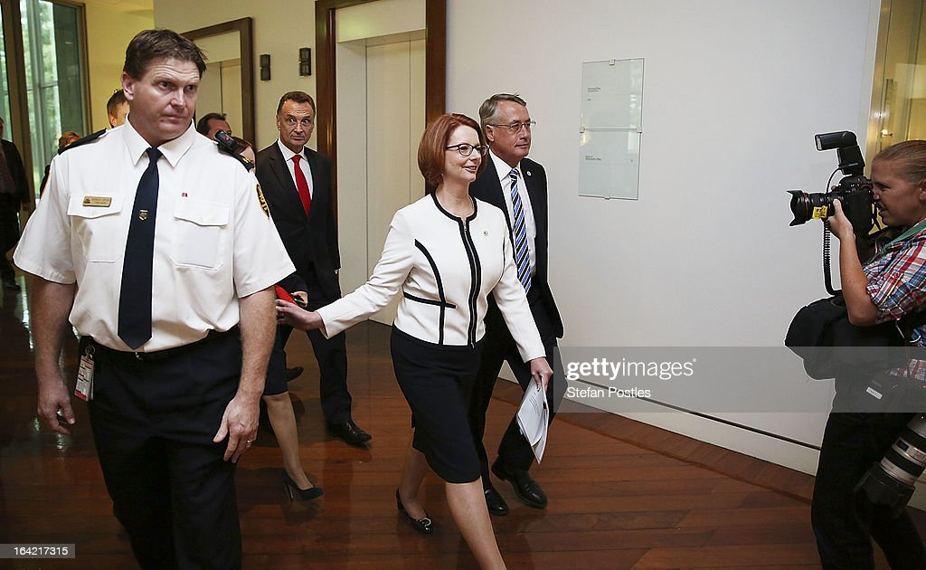 Prime Minister <a gi-track='captionPersonalityLinkClicked' href=/galleries/search?phrase=Julia+Gillard&family=editorial&specificpeople=787281 ng-click='$event.stopPropagation()'>Julia Gillard</a> returns to her office after the caucus meeting on March 21, 2013 in Canberra, Australia. Australian Prime Minister <a gi-track='captionPersonalityLinkClicked' href=/galleries/search?phrase=Julia+Gillard&family=editorial&specificpeople=787281 ng-click='$event.stopPropagation()'>Julia Gillard</a> has called for a ballot today to decide the leader, and deputy leader of the Australian Labor Party, effectively a caucus vote that will decide the Prime Minister and Deputy Prime Minister of the country. In a surprise turn of events only the incumbents nominated for the positions, so <a gi-track='captionPersonalityLinkClicked' href=/galleries/search?phrase=Julia+Gillard&family=editorial&specificpeople=787281 ng-click='$event.stopPropagation()'>Julia Gillard</a> remains Prime Minister and Wayne Swan stays in the role of Deputy Prime Minister.