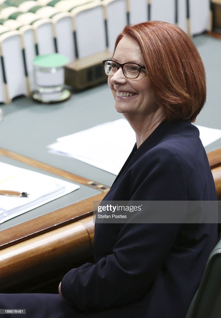 Prime Minister <a gi-track='captionPersonalityLinkClicked' href=/galleries/search?phrase=Julia+Gillard&family=editorial&specificpeople=787281 ng-click='$event.stopPropagation()'>Julia Gillard</a> smiles during House of Representatives question time on May 28, 2013 in Canberra, Australia. Prime Minister Gillard today remarked that a reports by ABC's Four Corners that the new ASIO headquarters in Canberra were cyberhacked by China were 'inaccurate'. The television program revealed that blueprints of the building were stolen after a cyber attack on a contractor that was traced to a server in China.