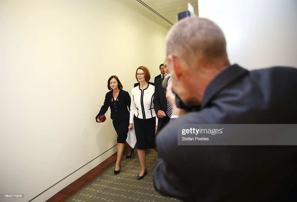 Prime Minister <a gi-track='captionPersonalityLinkClicked' href=/galleries/search?phrase=Julia+Gillard&family=editorial&specificpeople=787281 ng-click='$event.stopPropagation()'>Julia Gillard</a> walks towards the ballot room on March 21, 2013 in Canberra, Australia. Australian Prime Minister <a gi-track='captionPersonalityLinkClicked' href=/galleries/search?phrase=Julia+Gillard&family=editorial&specificpeople=787281 ng-click='$event.stopPropagation()'>Julia Gillard</a> has called for a ballot today to decide the leader, and deputy leader of the Australian Labor Party, effectively a caucus vote that will decide the Prime Minister and Deputy Prime Minister of the country. In a surprise turn of events only the incumbents nominated for the positions, so <a gi-track='captionPersonalityLinkClicked' href=/galleries/search?phrase=Julia+Gillard&family=editorial&specificpeople=787281 ng-click='$event.stopPropagation()'>Julia Gillard</a> remains Prime Minister and Wayne Swan stays in the role of Deputy Prime Minister.