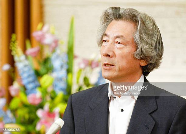 Prime Minister Junichiro Koizumi speaks to the media reporters at his official residence on the last day at the office on September 25 2006 in Tokyo...