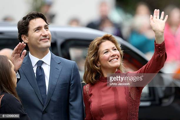 Prime Minister Justin Trudeau and his wife Sophie GregoireTrudeau arrive to the Immigrant Services Society a charitable organisation that provides...