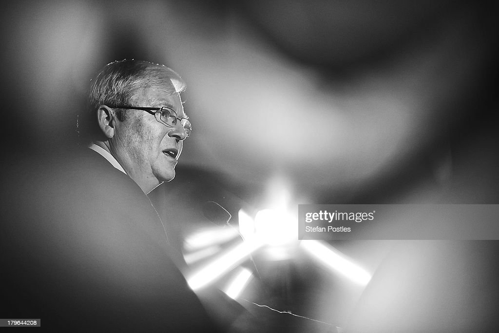 Prime Minister <a gi-track='captionPersonalityLinkClicked' href=/galleries/search?phrase=Kevin+Rudd&family=editorial&specificpeople=707751 ng-click='$event.stopPropagation()'>Kevin Rudd</a> addresses union workers at the West Tradies Club on September 6, 2013 in Sydney, Australia. Australian voters will head to the polls on September 7 to elect the 44th parliament.