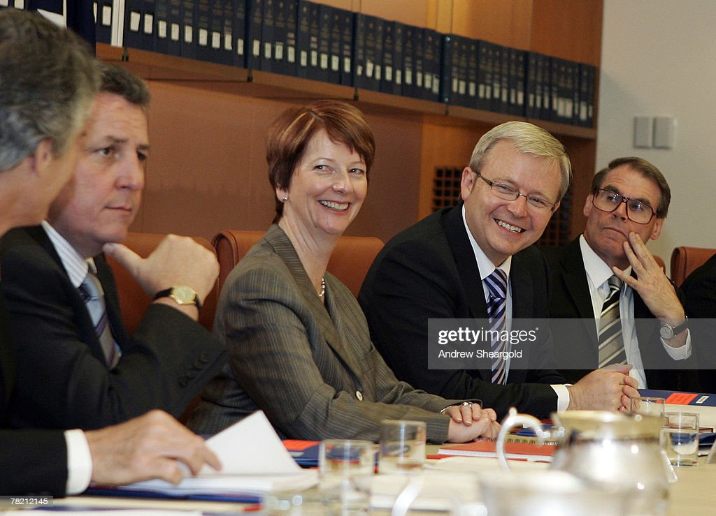 Prime Minister Kevin Rudd and deputy Prime Minister <a gi-track='captionPersonalityLinkClicked' href=/galleries/search?phrase=Julia+Gillard&family=editorial&specificpeople=787281 ng-click='$event.stopPropagation()'>Julia Gillard</a> smile at the government's first Ministers meeting in Parliament House on December 3, 2007 in Canberra, Australia. Kevin Rudd was today sworn in as the 26th Australian Prime Minister along with <a gi-track='captionPersonalityLinkClicked' href=/galleries/search?phrase=Julia+Gillard&family=editorial&specificpeople=787281 ng-click='$event.stopPropagation()'>Julia Gillard</a>, who was sworn in as Australia's first female Deputy Prime Minister.