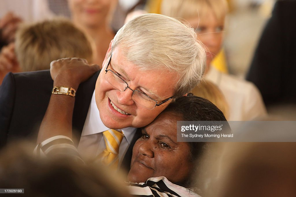 Prime Minister <a gi-track='captionPersonalityLinkClicked' href=/galleries/search?phrase=Kevin+Rudd&family=editorial&specificpeople=707751 ng-click='$event.stopPropagation()'>Kevin Rudd</a> and indidgenous woman Julie Turner attend the state memorial service for 'Yothu Yindi' founder Mr Yunupingu on June 30, 2013 in Gulkula, Nhulunbuy in the Northern Territory, Australia. Former Yothu Yindi singer and indigenous educator Yunupingu died almost a month ago aged 56.