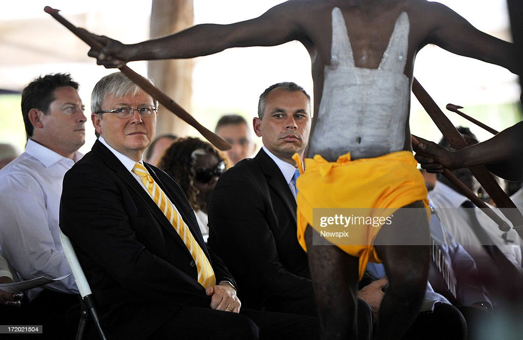 Prime Minister <a gi-track='captionPersonalityLinkClicked' href=/galleries/search?phrase=Kevin+Rudd&family=editorial&specificpeople=707751 ng-click='$event.stopPropagation()'>Kevin Rudd</a> attends the state memorial service for 'Yothu Yindi' founder Mr Yunupingu on June 30, 2013 in Gulkula, Nhulunbuy in the Northern Territory, Australia. Former Yothu Yindi singer and indigenous educator Yunupingu died almost a month ago aged 56.