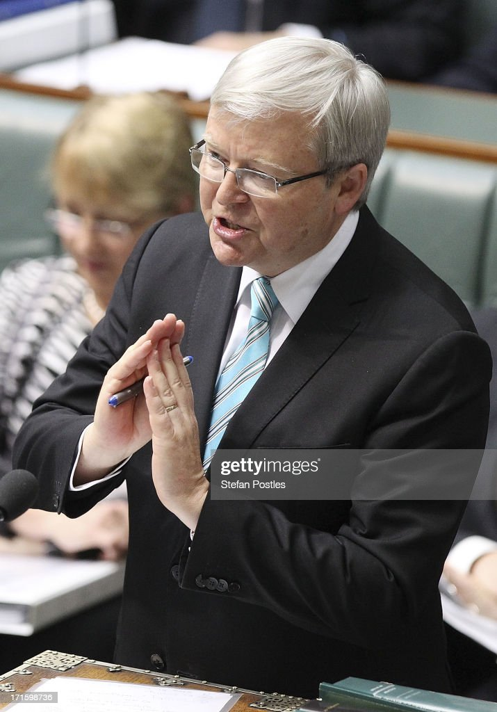 Prime Minister <a gi-track='captionPersonalityLinkClicked' href=/galleries/search?phrase=Kevin+Rudd&family=editorial&specificpeople=707751 ng-click='$event.stopPropagation()'>Kevin Rudd</a> during House of Representatives question time on June 27, 2013 in Canberra, Australia. <a gi-track='captionPersonalityLinkClicked' href=/galleries/search?phrase=Kevin+Rudd&family=editorial&specificpeople=707751 ng-click='$event.stopPropagation()'>Kevin Rudd</a> won an Australian Labor Party leadership ballot 57-45 last night, and will be sworn in this morning as Australian Prime Minister by Governor-General Quentin Bryce. Rudd was Prime Minister from 2007 to 2010 before he was dumped by his party for his deputy Julia Gillard. Gillard has announced that she will leave parliament and not contest her seat following her ballot loss.