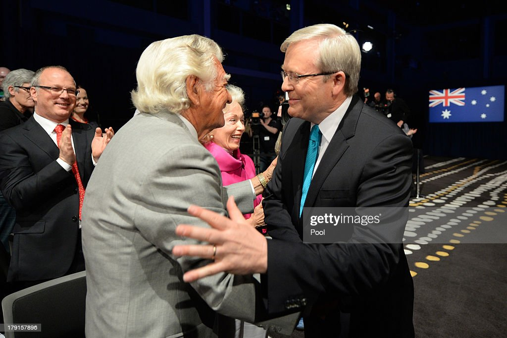 Prime Minister <a gi-track='captionPersonalityLinkClicked' href=/galleries/search?phrase=Kevin+Rudd&family=editorial&specificpeople=707751 ng-click='$event.stopPropagation()'>Kevin Rudd</a> is welcomed by former Prime Minister <a gi-track='captionPersonalityLinkClicked' href=/galleries/search?phrase=Bob+Hawke&family=editorial&specificpeople=158023 ng-click='$event.stopPropagation()'>Bob Hawke</a> during the Labor party campaign launch at the Brisbane Convention and Exhibition Centre on September 1, 2013 in Brisbane, Australia. The incumbent centre-left Australian Labor Party has trailed the conservative Liberal-National Party coalition for the first four weeks of the campaign, and most pollsters give them little hope of retaining government. Australians head to the polls this Saturday, September 7.