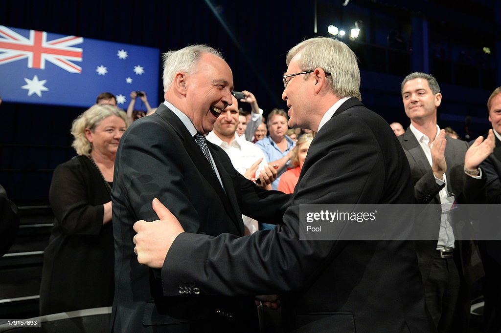 Prime Minister Kevin Rudd is welcomed by former Prime Minister Paul Keating during the Labor party campaign launch at the Brisbane Convention and Exhibition Centre on September 1, 2013 in Brisbane, Australia. The incumbent centre-left Australian Labor Party has trailed the conservative Liberal-National Party coalition for the first four weeks of the campaign, and most pollsters give them little hope of retaining government. Australians head to the polls this Saturday, September 7.
