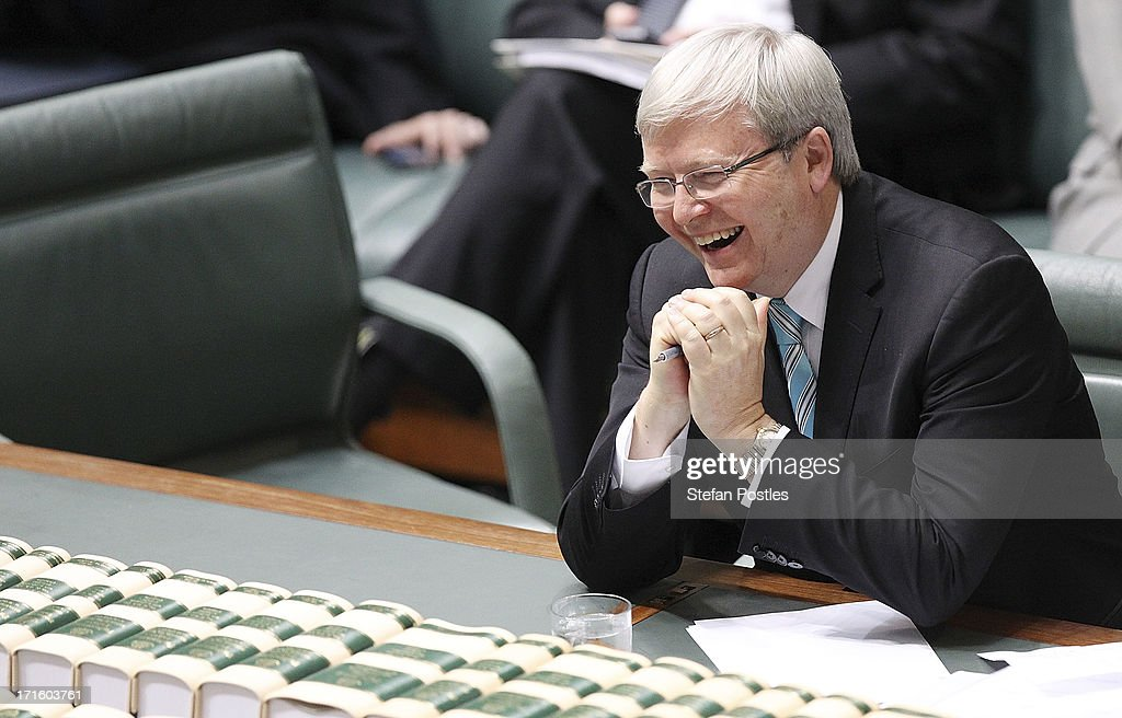 Prime Minister <a gi-track='captionPersonalityLinkClicked' href=/galleries/search?phrase=Kevin+Rudd&family=editorial&specificpeople=707751 ng-click='$event.stopPropagation()'>Kevin Rudd</a> laughs at a joke by Defence Minister Stephen Smith while he announces he will not contest his seat in the upcoming election in the House of Representatives on June 27, 2013 in Canberra, Australia. <a gi-track='captionPersonalityLinkClicked' href=/galleries/search?phrase=Kevin+Rudd&family=editorial&specificpeople=707751 ng-click='$event.stopPropagation()'>Kevin Rudd</a> won an Australian Labor Party leadership ballot 57-45 last night, and will be sworn in this morning as Australian Prime Minister by Governor-General Quentin Bryce. Rudd was Prime Minister from 2007 to 2010 before he was dumped by his party for his deputy Julia Gillard. Gillard has announced that she will leave parliament and not contest her seat following her ballot loss.