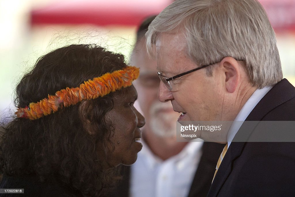 Prime Minister <a gi-track='captionPersonalityLinkClicked' href=/galleries/search?phrase=Kevin+Rudd&family=editorial&specificpeople=707751 ng-click='$event.stopPropagation()'>Kevin Rudd</a> pays his respect to the widow of Mr Yunupingu, Yalmay Yunupingu during the state memorial service for 'Yothu Yindi' founder Mr Yunupingu on June 30, 2013 in Gulkula, Nhulunbuy in the Northern Territory, Australia. Former Yothu Yindi singer and indigenous educator Yunupingu died almost a month ago aged 56.