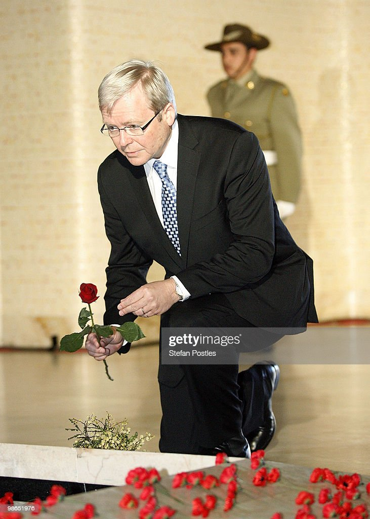 Prime Minister <a gi-track='captionPersonalityLinkClicked' href=/galleries/search?phrase=Kevin+Rudd&family=editorial&specificpeople=707751 ng-click='$event.stopPropagation()'>Kevin Rudd</a> places a single rose at the foot of the Tomb of the Unknown Soldier during the ANZAC Day National Ceremony at the Australian War Memorial on April 25, 2010 in Canberra, Australia. Veterans, dignitaries and members of the public today marked the 95th anniversary of ANZAC (Australia New Zealand Army Corps) Day, when First World War troops landed on the Gallipoli Peninsula, Turkey early April 25, 1915, commemorating the event with ceremonies of remembrance for those who fought and died in all wars.