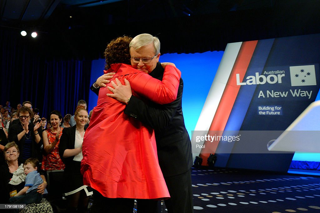 Prime Minister <a gi-track='captionPersonalityLinkClicked' href=/galleries/search?phrase=Kevin+Rudd&family=editorial&specificpeople=707751 ng-click='$event.stopPropagation()'>Kevin Rudd</a> receives a hug from his wife Therese after the Labor party campaign launch at the Brisbane Convention and Exhibition Centre on September 1, 2013 in Brisbane, Australia. The incumbent centre-left Australian Labor Party has trailed the conservative Liberal-National Party coalition for the first four weeks of the campaign, and most pollsters give them little hope of retaining government. Australians head to the polls this Saturday, September 7.