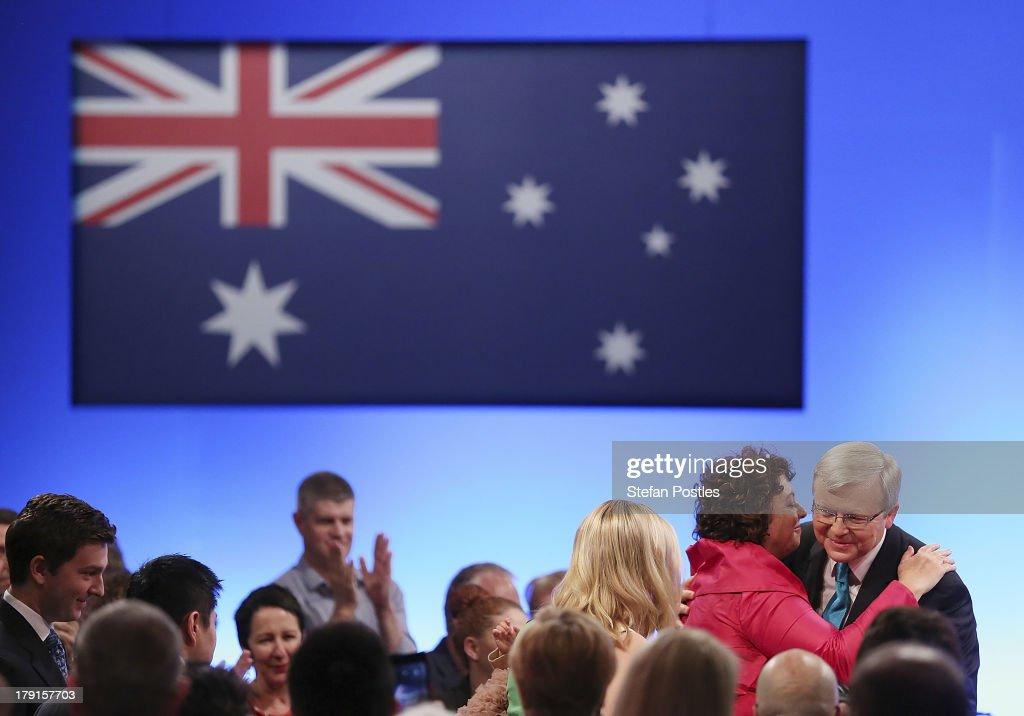Prime Minister <a gi-track='captionPersonalityLinkClicked' href=/galleries/search?phrase=Kevin+Rudd&family=editorial&specificpeople=707751 ng-click='$event.stopPropagation()'>Kevin Rudd</a> receives a hug from his wife <a gi-track='captionPersonalityLinkClicked' href=/galleries/search?phrase=Therese+Rein&family=editorial&specificpeople=4264669 ng-click='$event.stopPropagation()'>Therese Rein</a> during the Labor party campaign launch at the Brisbane Convention and Exhibition Centre on September 1, 2013 in Brisbane, Australia. The incumbent centre-left Australian Labor Party has trailed the conservative Liberal-National Party coalition for the first four weeks of the campaign, and most pollsters give them little hope of retaining government. Australians head to the polls this Saturday, September 7.
