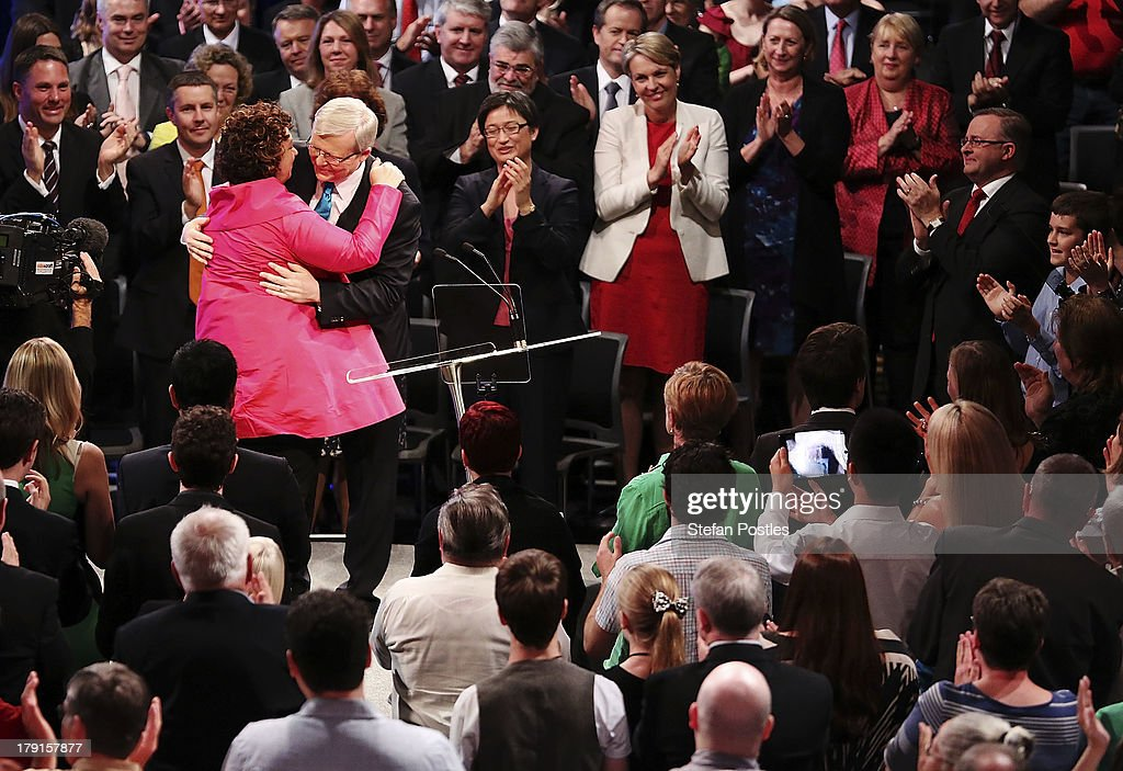 Prime Minister <a gi-track='captionPersonalityLinkClicked' href=/galleries/search?phrase=Kevin+Rudd&family=editorial&specificpeople=707751 ng-click='$event.stopPropagation()'>Kevin Rudd</a> receives a hug from his wife Therese Rein during the Labor party campaign launch at the Brisbane Convention and Exhibition Centre on September 1, 2013 in Brisbane, Australia. The incumbent centre-left Australian Labor Party has trailed the conservative Liberal-National Party coalition for the first four weeks of the campaign, and most pollsters give them little hope of retaining government. Australians head to the polls this Saturday, September 7.