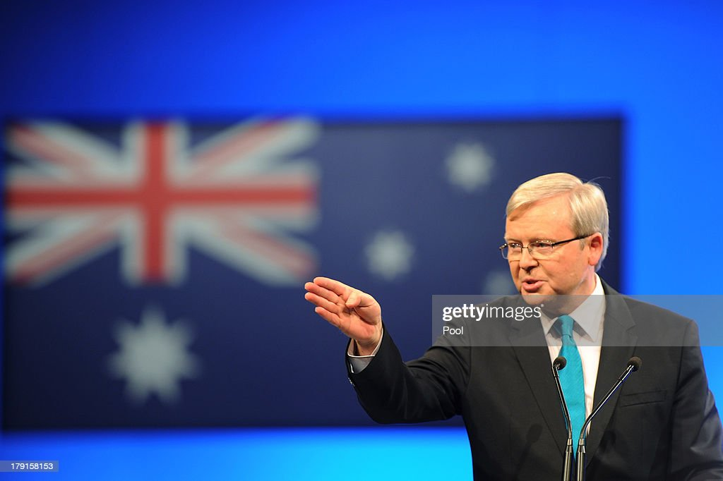 Prime Minister <a gi-track='captionPersonalityLinkClicked' href=/galleries/search?phrase=Kevin+Rudd&family=editorial&specificpeople=707751 ng-click='$event.stopPropagation()'>Kevin Rudd</a> speaks during the Labor party campaign launch at the Brisbane Convention and Exhibition Centre on September 1, 2013 in Brisbane, Australia. The incumbent centre-left Australian Labor Party has trailed the conservative Liberal-National Party coalition for the first four weeks of the campaign, and most pollsters give them little hope of retaining government. Australians head to the polls this Saturday, September 7.