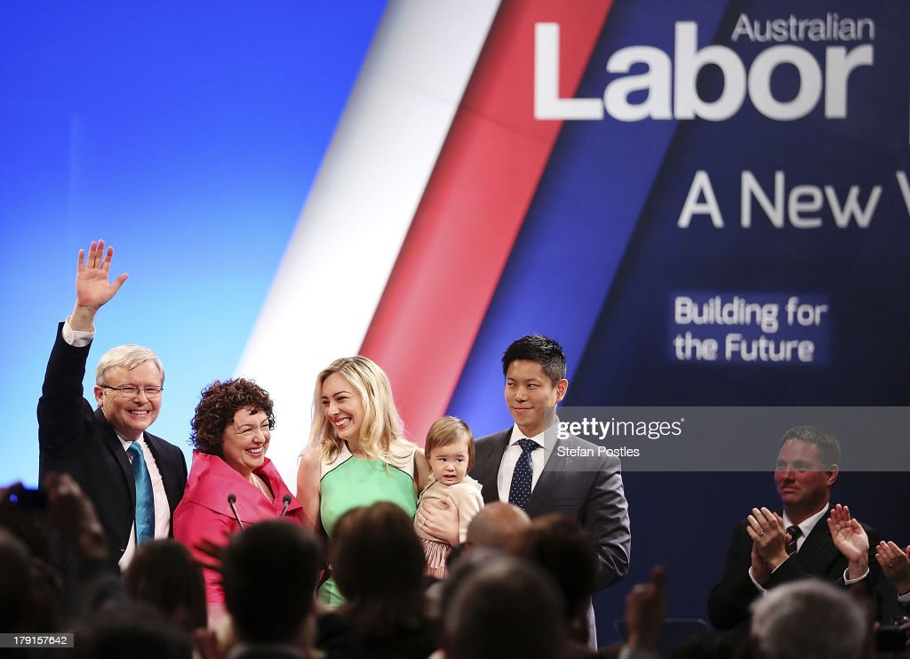 Prime Minister <a gi-track='captionPersonalityLinkClicked' href=/galleries/search?phrase=Kevin+Rudd&family=editorial&specificpeople=707751 ng-click='$event.stopPropagation()'>Kevin Rudd</a> stands with his wife Therese Rein, daughter Jessica, grand daughter Josephine and Jessica's husband Albert Tse during the Labor party campaign launch at the Brisbane Convention and Exhibition Centre on September 1, 2013 in Brisbane, Australia. The incumbent centre-left Australian Labor Party has trailed the conservative Liberal-National Party coalition for the first four weeks of the campaign, and most pollsters give them little hope of retaining government. Australians head to the polls this Saturday, September 7.
