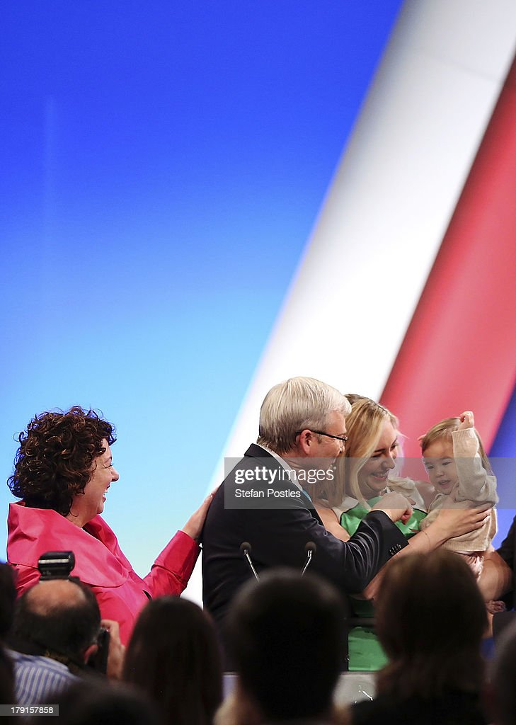 Prime Minister Kevin Rudd stands with his wife Therese Rein, daughter Jessica and grand daughter Josephine during the Labor party campaign launch at the Brisbane Convention and Exhibition Centre on September 1, 2013 in Brisbane, Australia. The incumbent centre-left Australian Labor Party has trailed the conservative Liberal-National Party coalition for the first four weeks of the campaign, and most pollsters give them little hope of retaining government. Australians head to the polls this Saturday, September 7.