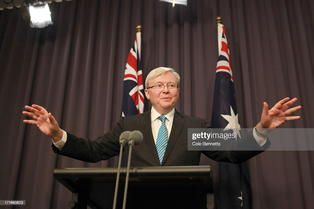 Prime Minister <a gi-track='captionPersonalityLinkClicked' href=/galleries/search?phrase=Kevin+Rudd&family=editorial&specificpeople=707751 ng-click='$event.stopPropagation()'>Kevin Rudd</a> talks to the media at a press conference at Parliament House on June 28, 2013 in Canberra, Australia. Rudd announced he would extend the time for states to sign up to the 'Gonski' national improvement plan for Australian schools for two more weeks. Rudd also said his cabinet would be sworn-in on Monday and that he was scheduled to speak with the Indonesian Prime Minister about a scheduled visit to that country next week.