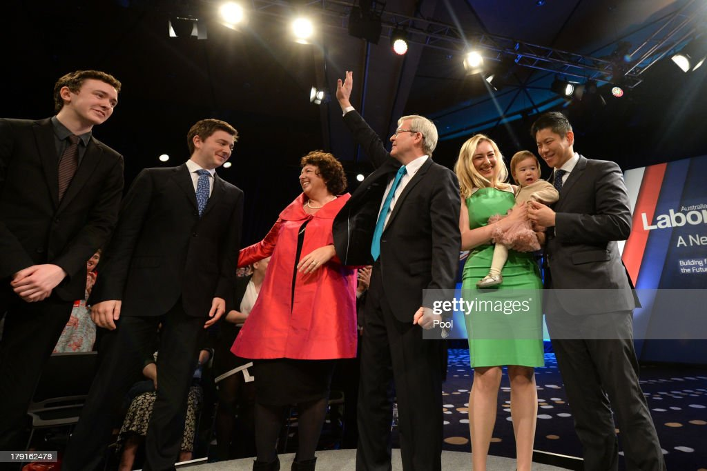 Prime Minister Kevin Rudd, wife Therese Rein, son Nicholas, son Marcus, daughter Jessica with Josephine smile after the Labor party campaign launch at the Brisbane Convention and Exhibition Centre on September 1, 2013 in Brisbane, Australia. The incumbent centre-left Australian Labor Party has trailed the conservative Liberal-National Party coalition for the first four weeks of the campaign, and most pollsters give them little hope of retaining government. Australians head to the polls this Saturday, September 7.