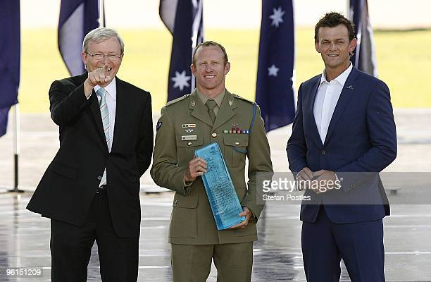Prime Minister Kevin Rudd Young Australian of the Year Trooper Mark Donaldson VC and Adam Gilchrist pose for photos at the Australian of the Year...