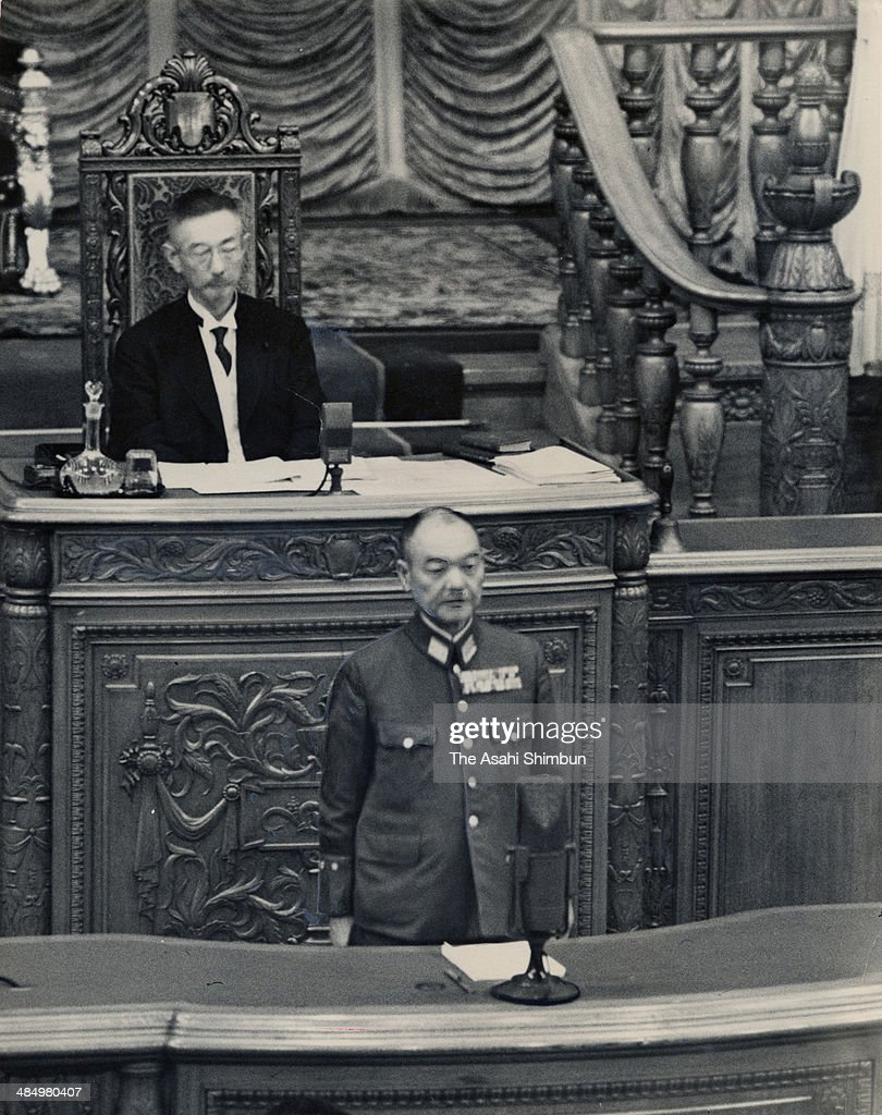 Prime Minister Kuniaki Koiso addresses his policy speech at the House of Peers of the diet on September 7, 1944 in Tokyo, Japan. Kuniaki Koiso (1880-1950) was the 41st Prime Minister of Japan.