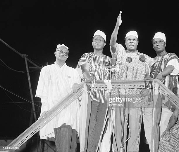 Prime Minister Kwame Nkrumah waves to celebrating crowd here March 6th after the British colony known as the Gold Coast ceased to exist and the...